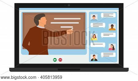 Distance Learning, Online Education. Man Teacher Write Chalk On Blackboard And Students Of Universit