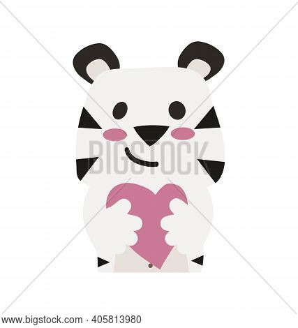 Cute White Tiger - Hugging Heart - Flat Cartoony Vector Isolated