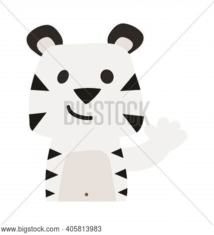 Cute White Tiger - Waving - Flat Cartoony Vector Isolated