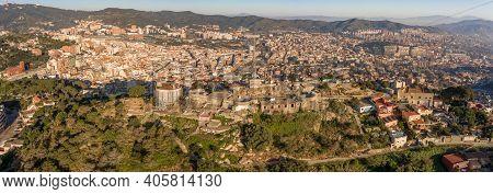 Barcelona, Spain - Feb 24, 2020: Pano Aerial Drone Shot Of Turo De La Rovira Hill In Morning