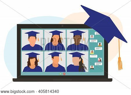 Virtual Graduation Ceremony. Graduates In Square Academic Cars Communicate Via Video Call. Laptop Sc