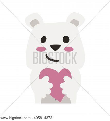Cute Polar Bear - Hugging Heart - Flat Cartoony Vector Isolated