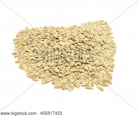 Top View Mound Of Handful Opo Gourd Or Calabash Squash Seeds Isolated On White Background