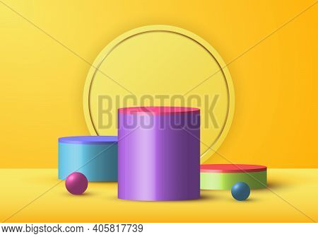 3d Realistic Yellow Rendering And Colorful Geometric Sphere, Cylinder Studio Decoration For Display