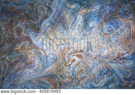 Beige Blue Fluid Illustration. Digital Marbling Card. Abstract Pastel Fluid Art Background. Marble T