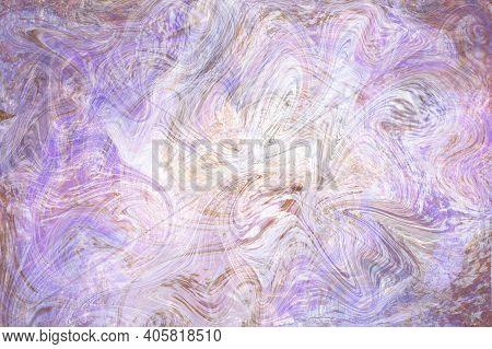 Beige Violet Fluid Illustration. Digital Marbling Card. Abstract Pastel Fluid Art Background. Marble