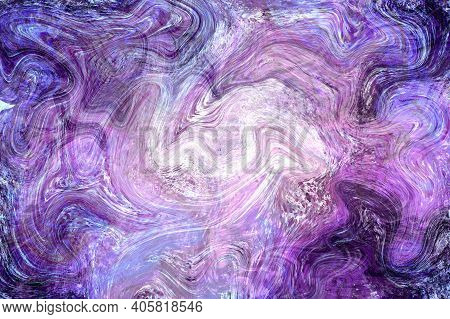 Dark Violet Fluid Illustration. Digital Marbling Card. Abstract Pastel Fluid Art Background. Marble
