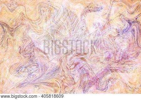 Yellow Violet Fluid Illustration. Digital Marbling Card. Abstract Pastel Fluid Art Background. Marbl