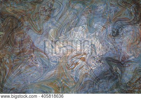 Grey Blue Fluid Illustration. Digital Marbling Card. Abstract Pastel Fluid Art Background. Marble Te