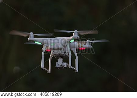 Great Malvern, United Kingdom, 27th December, 2020: Rear View Of Professional Quadcopter Camera Dron