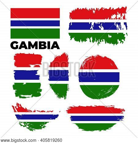 Gambia Flag Vector Illustration Independence Day Of Gambia.
