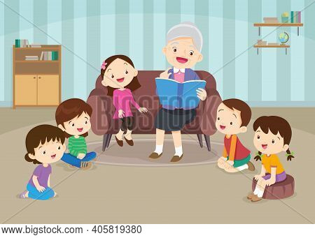 Grandfather Reading Fairy Tales To His Grandchildren, Reading And Telling Book Fairy Tale Stor.child