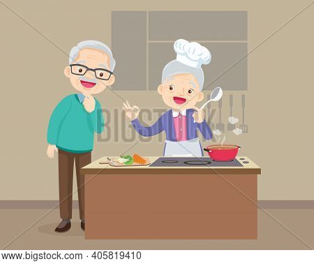 Happy Family With Grandparent Cooking In Kitchen,grandfather Looking Grandmother Cooking. Elderly Co