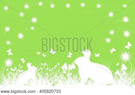 Easter Green Background With Copy Space. Easter Banner With Grass, Flowers, Bunny And Butterfly Silh