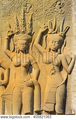 The Angel Sculpture On The Wall Of Anciient Khmer.by  This Angle Is Called Mrs. Apsorn. Which  Insid