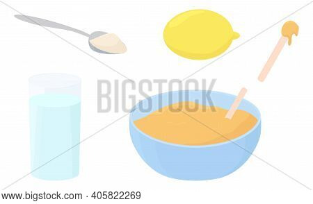 Illustration Recipe Of Hair Removal Sugar Paste For Depilation Isolated On White. Cup, Spatula, Spoo