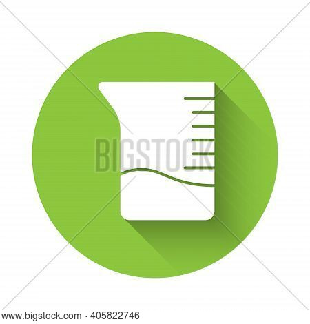 White Measuring Cup Icon Isolated With Long Shadow. Plastic Graduated Beaker With Handle. Green Circ