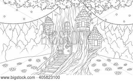 Vector Illustration, Fantasy House In An Old Tree For Fairy Tale Characters, Coloring Book
