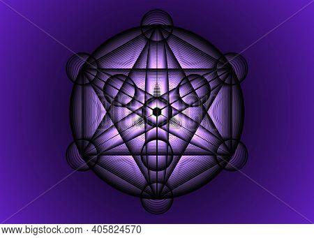 Alchemy Occult Mandala, Metatrons Cube, Flower Of Life. Sacred Geometry, Graphic Element Magic Hexag