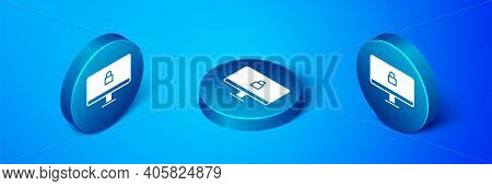 Isometric Lock On Computer Monitor Screen Icon Isolated On Blue Background. Security, Safety, Protec