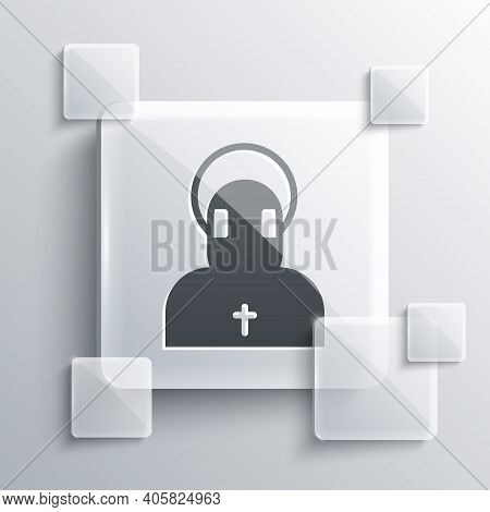 Grey Monk Icon Isolated On Grey Background. Square Glass Panels. Vector