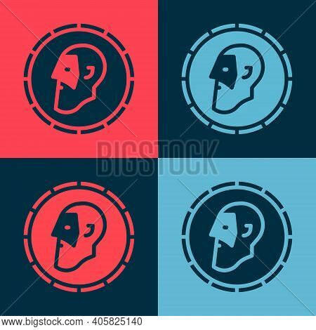 Pop Art Ancient Coin Icon Isolated On Color Background. Vector