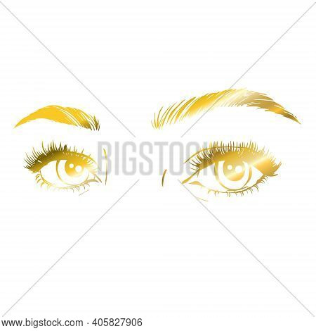 Vector Logo Design Template For Beauty Salon. Lash And Brow Icon.