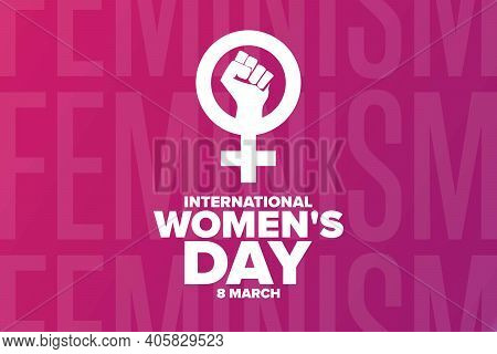 International Womens Day. 8 March. Holiday Concept. Template For Background, Banner, Card, Poster Wi