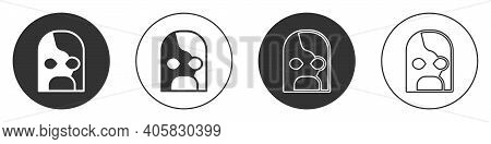 Black Mexican Wrestler Icon Isolated On White Background. Circle Button. Vector