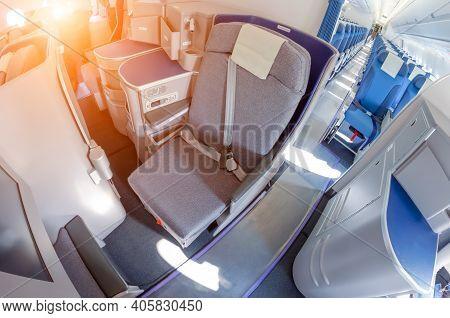 Passenger Seats Business Class Interior Of Salon View Of The Interior Of An Empty Passageway