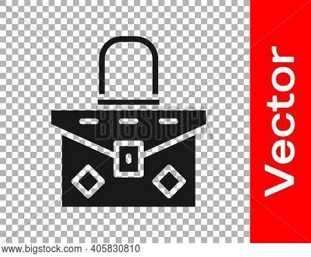 Black Handbag Icon Isolated On Transparent Background. Female Handbag Sign. Glamour Casual Baggage S