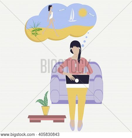 Travel Planning. Dream Of A Trip To The Sea - Freelancer, Woman Sits In A Chair With Laptop, Telewor