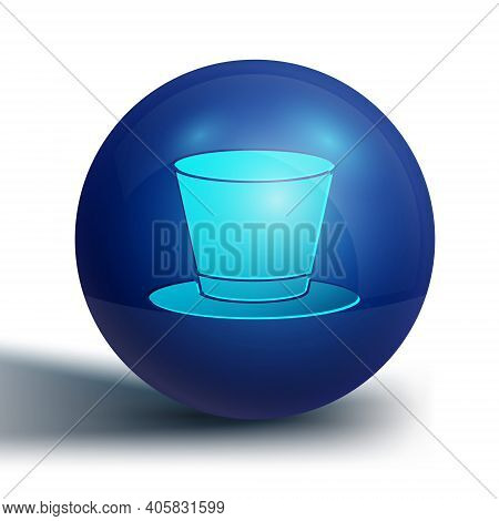 Blue Cylinder Hat Icon Isolated On White Background. Blue Circle Button. Vector