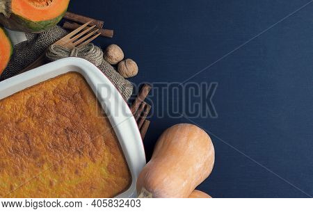 Autumn Traditional Baking Background. Ingredients For Cooking Pumpkin Pie, With Pumpkin Spice,  Pump