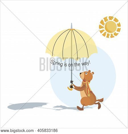 Groundhog Day. Groundhog Holding An Umbrella. Sunny Day. Spring Is On The Way. Marmot, Sun, Shadow.
