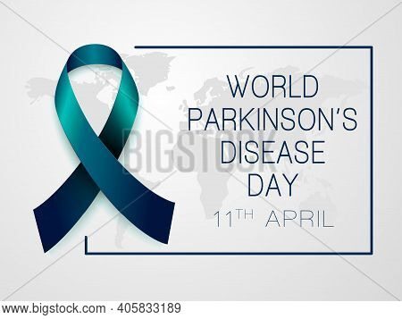 World Parkinson's Disease Day 11th April.  Vector Isolated Illustration With Blue Ribbon On Grey Bac