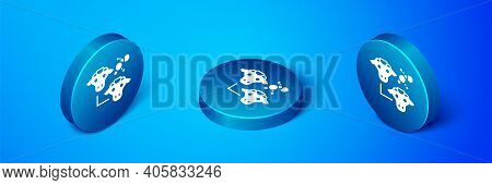 Isometric Cloning Icon Isolated On Blue Background. Genetic Engineering Concept. Blue Circle Button.