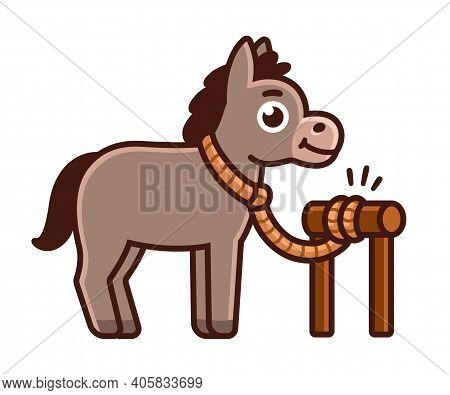 Cute Cartoon Donkey Tied To Post. Amarrar O Burro (tie A Donkey In Portuguese) Brazilian Expression