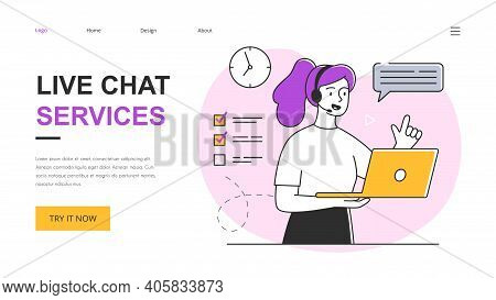 Technical Customer Support Concept. Customer Service Representative Talking With Customer And Helpin