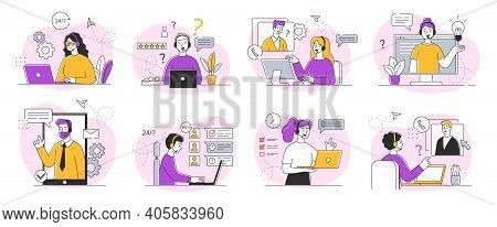 A Collection Of Sketches On The Topic Of Technical Customer Support. Customer Service Representative
