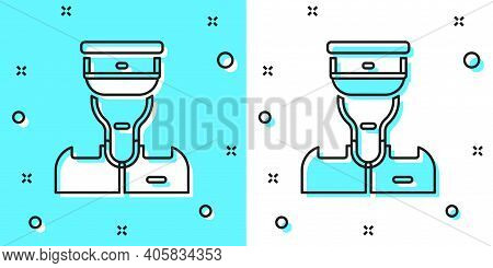 Black Line Train Conductor Icon Isolated On Green And White Background. Random Dynamic Shapes. Vecto