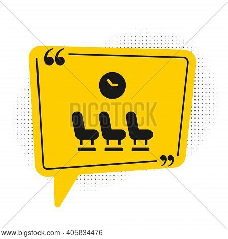 Black Waiting Room Icon Isolated On White Background. Yellow Speech Bubble Symbol. Vector