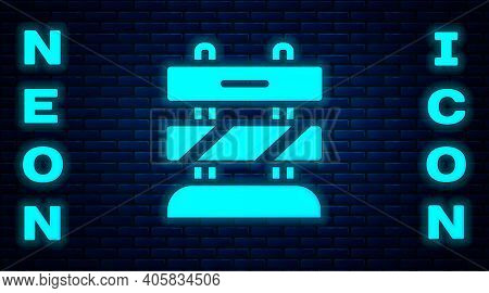 Glowing Neon End Of Railway Tracks Icon Isolated On Brick Wall Background. Stop Sign. Railroad Buffe