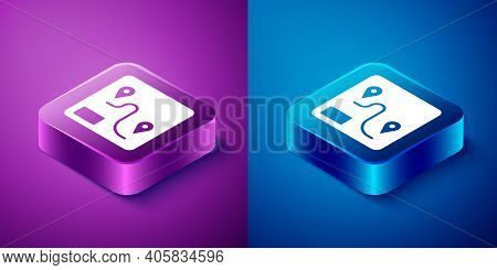 Isometric Route Location Icon Isolated On Blue And Purple Background. Train Line Path Of Train Road