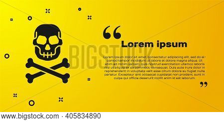 Black Skull On Crossbones Icon Isolated On Yellow Background. Happy Halloween Party. Vector