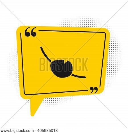Black Pirate Eye Patch Icon Isolated On White Background. Pirate Accessory. Yellow Speech Bubble Sym