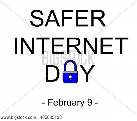 Safer Internet Day Symbol, Sign Or Logo. Padlock Design. White Background. Vector Illustration.