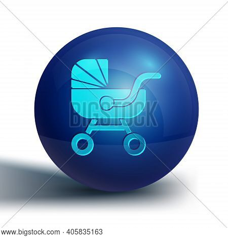 Blue Baby Stroller Icon Isolated On White Background. Baby Carriage, Buggy, Pram, Stroller, Wheel. B