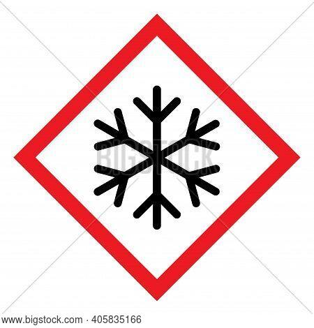 Snow Winter Icon, Danger Ice Flake Sign, Risk Alert Vector Illustration, Careful Caution Symbol .