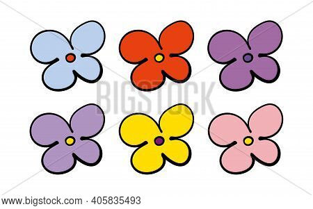 Vector Multicolored Wild Flowers In Doodle Style. Design For Postcards, Web Banners, Birthdays Greet